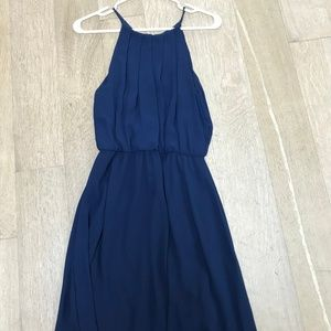 NAVY HALTER-NECK DRESS